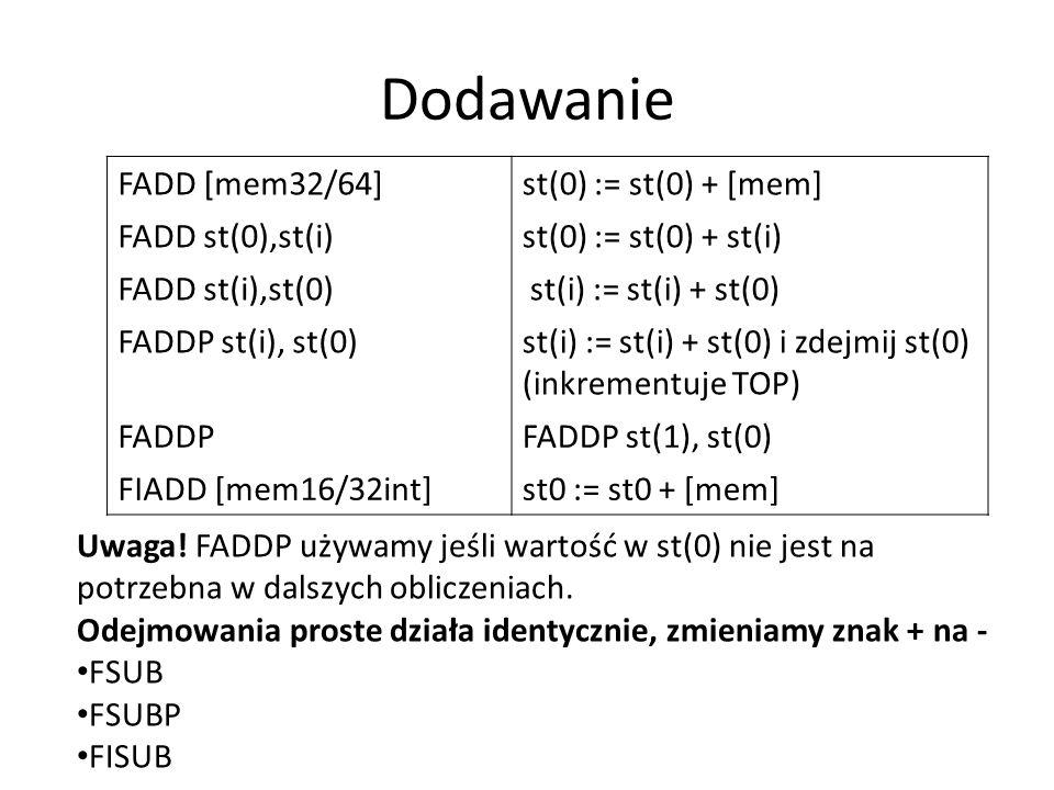 Dodawanie FADD [mem32/64] st(0) := st(0) + [mem] FADD st(0),st(i)
